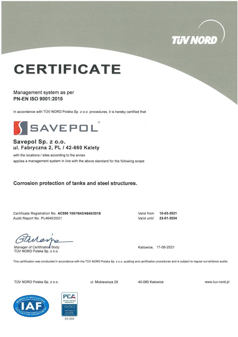 Certyfikat TUV - Savepol - EN
