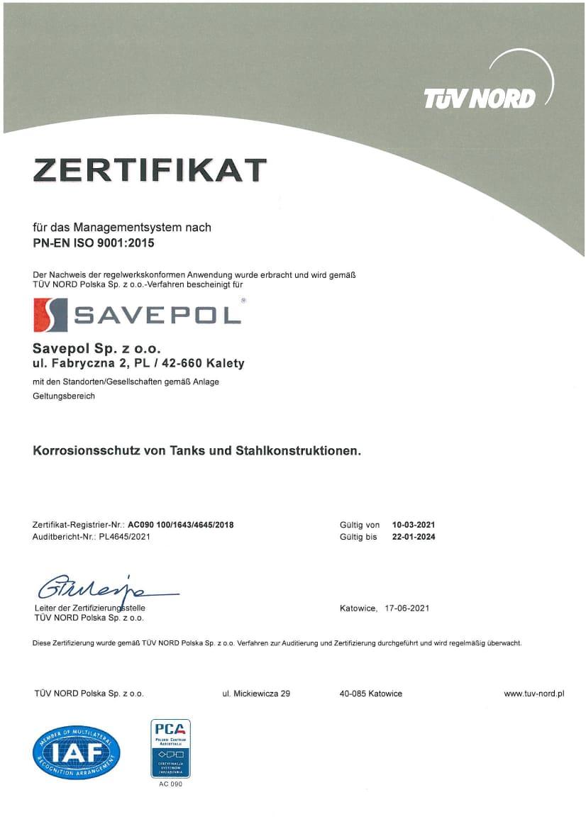 Certyfikat TUV - Savepol - DE