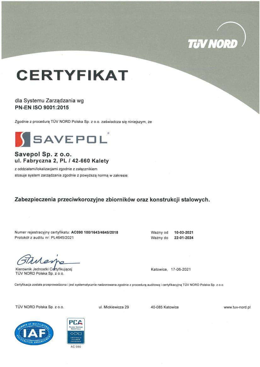 Certyfikat TUV - Savepol